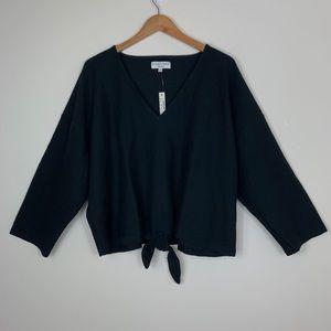 Madewell; Texture & Thread Front Tie Top - Black